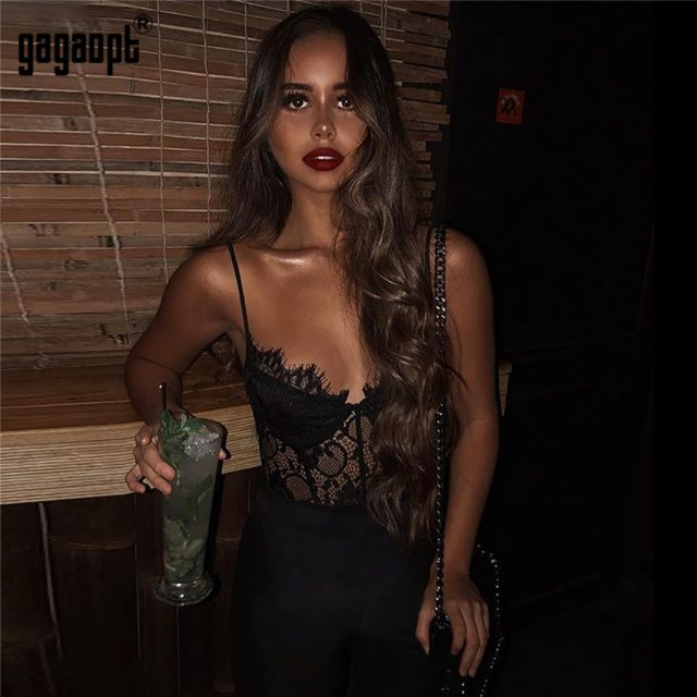Gagaopt 2018 Summer Lace Bodysuit Women Hollow Out Bodycon Sexy Bodysuit Jumpsuit Overalls Streetwear