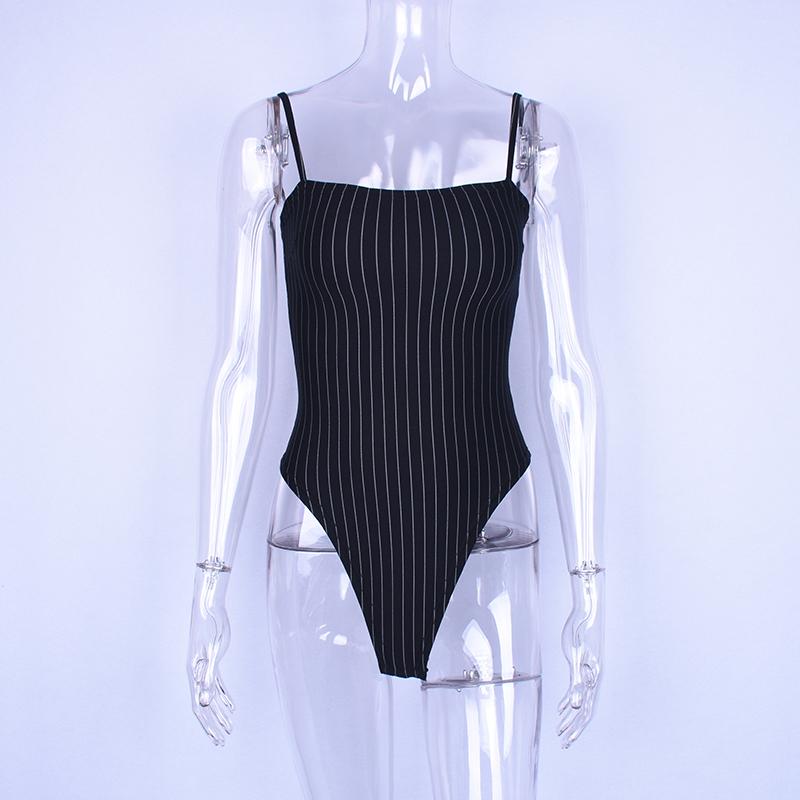 Hugcitar spaghetti straps stripe slash neck backless sexy bodycon bodysuit 2018 summer women fashion body