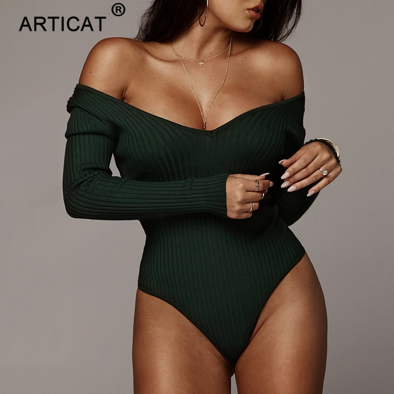 Articat Off Shoulder Ribbed Knitted Sexy Bodysuit Women Black V Neck Autumn Slim Rompers Womens Jumpsuit Winter Basic Bodysuits