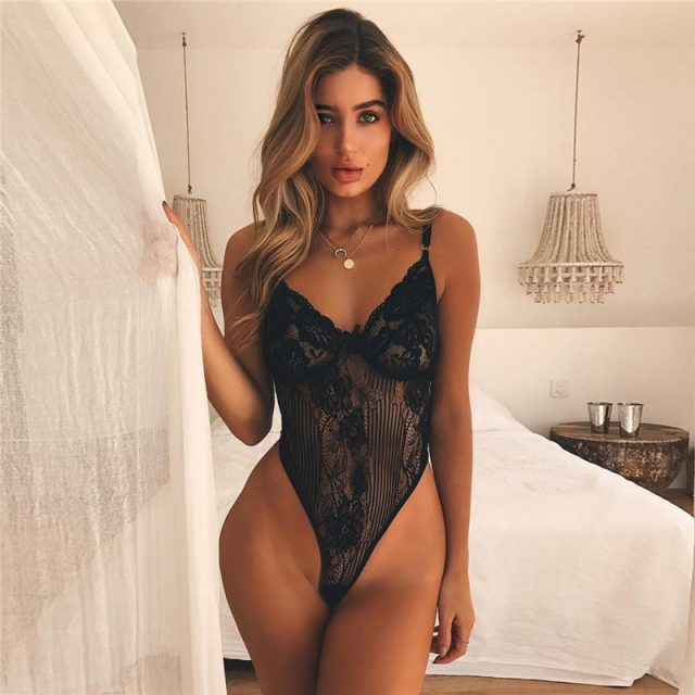 Cryptographic Black bow lace bodysuit women backless transparent sexy body jumpsuit rompers 2019 catsuit bodysuits slim overalls