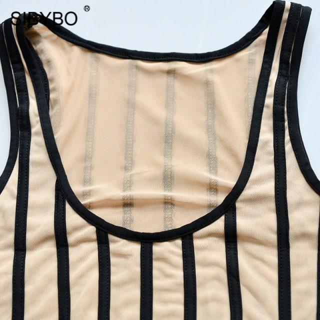 Sibybo Striped Print Skinny Summer Bodysuit Women Sleeveless O-Neck Sexy Romper Women Beach Casual Ladies Bodysuit Jumpsuit