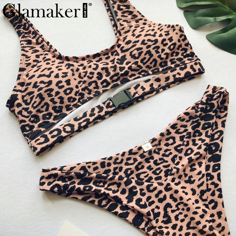 Glamaker Leopard print push up bodysuit Women sexy summer bodycon bodysuit female hollow Out bathing suit two-piece suit rompers