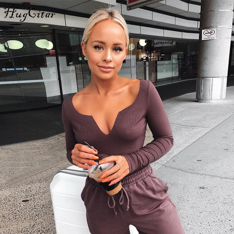 Hugcitar long sleeve V-neck sexy bodycon body 2018 autumn winter women fashion solid elegant club bodysuit