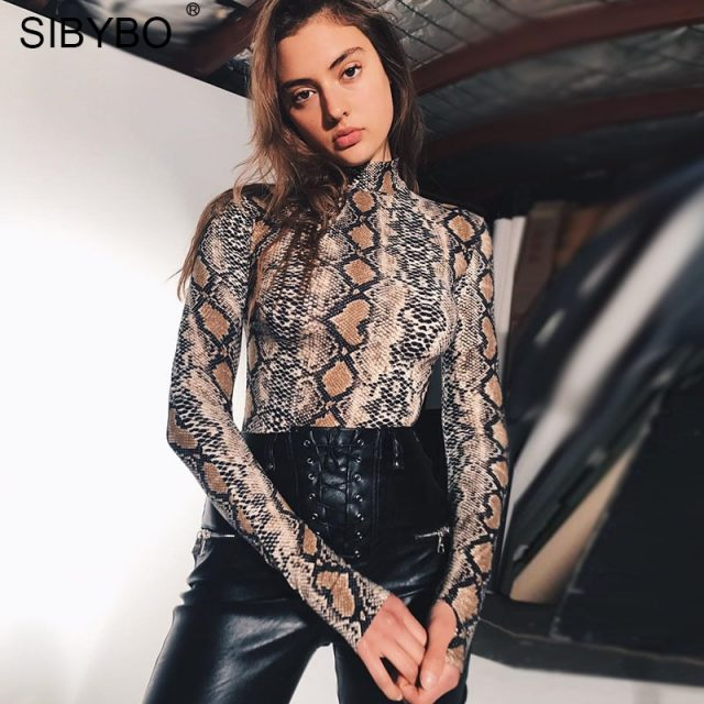 SIBYBO Snake Skin Grain Print Bodysuit Women Tops Long Sleeve Autumn Winter Turtleneck Slim Bodysuits Rompers Womens Jumpsuit
