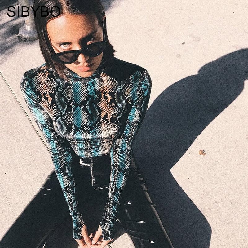 SIBYBO Snake Skin Grain Print Bodysuit Women Tops Long Sleeve Autumn Winter Turtleneck Slim Bodysuits Rompers Womens Jumpsuit