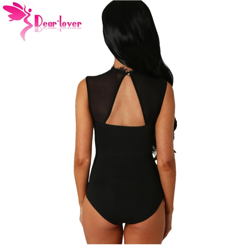 Dear-Lover Bodysuit Women Sexy Black Lace High Neck Cut Out Back Bodycon Jumpsuits Romper Combinaison Shorts Playsuits LC32050