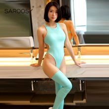 SAROOSY 2018 New Faux Leather Bodysuit Set for Women High Elastic Backless High Cut Sexy Clubwear Candy Multicolor Choice
