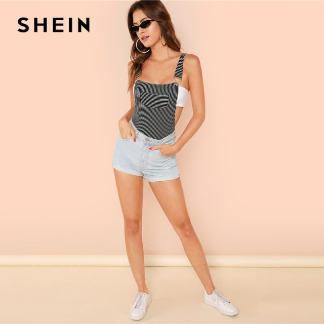 SHEIN Stripe Bodysuit with Suspender Straps Sexy Mid Waist Pocket Sleeveless Bodysuits Women Summer Skinny Backless Bodysuits