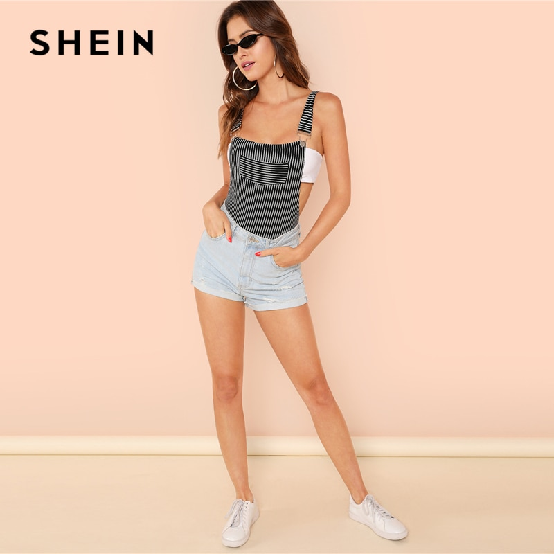 SHEIN Stripe Bodysuit with Suspender Straps Sexy Mid Waist Pocket Sleeveless Bodysuits Women Summer Skinny Backless Bodysuits