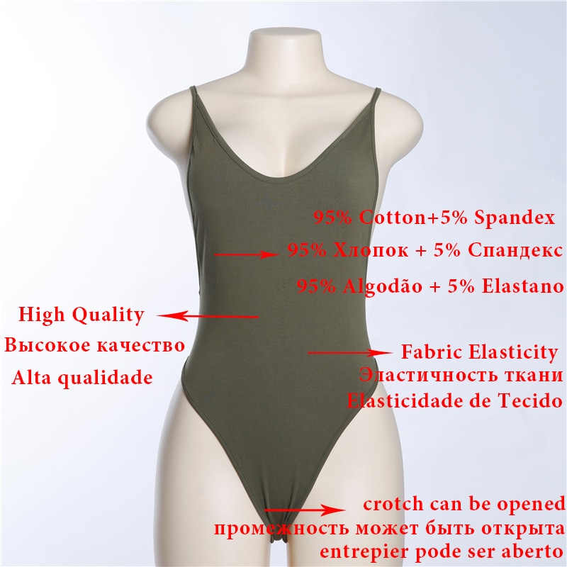 Cryptographic Backless strap cotton female body sexy bodysuit teddy bodycon rompers womens jumpsuit 2018 bodysuits hot overalls