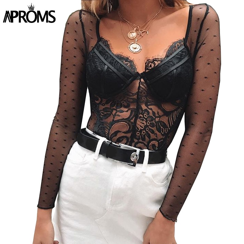 Aproms Sexy V Neck Lace Bodysuits Female Slim Fit Romper Jumpsuit Night Club Mesh Long Sleeve Bodysuits Top for Women Clothing