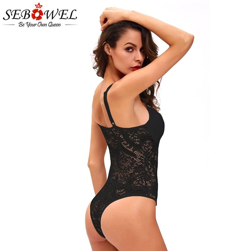 SEBOWEL Black/White Lace Bodysuit Women Summer Sexy See Through Skinny Body Jumpsuit Femme Romper Combinaison Shorts Playsuits