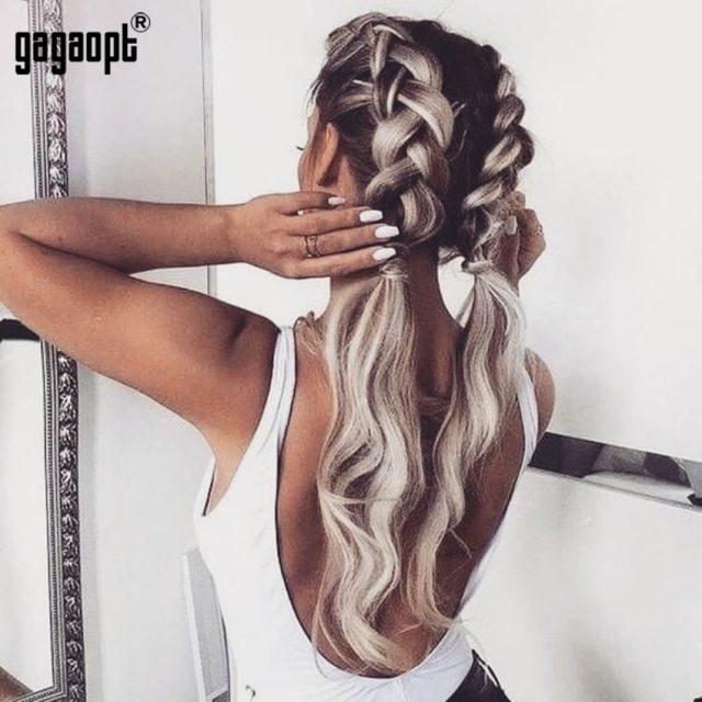 Gagaopt 2018 Summer Backless Bodysuit Women 95% Cotton Sexy Bodysuit White/Black Sleeveless Bodysuit Jumpsuit Overalls