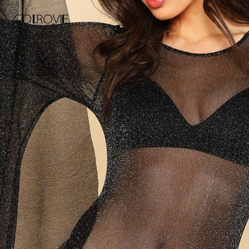 COLROVIE Exaggerated Bell Sleeve Glitter Mesh Bodysuit Summer Backless Sexy Bodysuits Black Long Sleeve Skinny Bodysuit