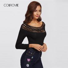 COLROVIE Black Hollow Out Shoulder Solid Night Out Sexy Skinny Bodysuit Autumn Scoop Long Sleeve Elegant Women Bodysuits