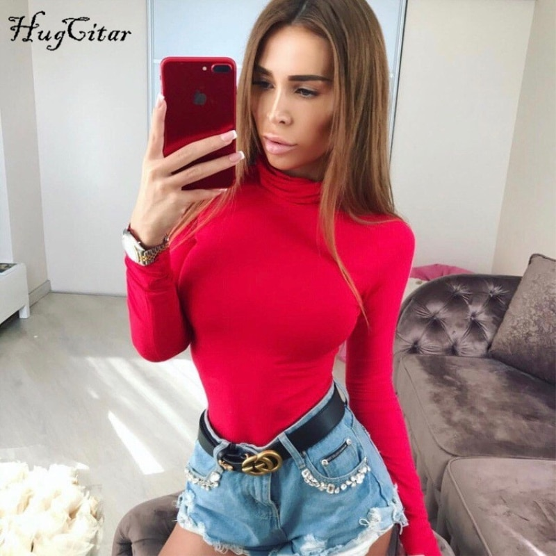 Hugcitar cotton long sleeve high neck bodycon sexy bodysuit women 2017 autumn winter red solid female fashion party body
