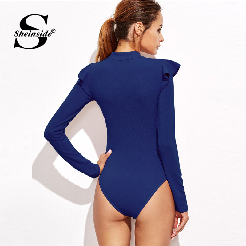 Sheinside Blue Mock Neck Frill Detail Textured Bodysuit Women Clothes Long Sleeve Bodysuit 2018 Mid Waist Ladies Sexy Bodysuits