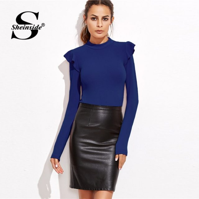 Sheinside Blue Mock Neck Frill Detail Textured Bodysuit Women Clothes Long Sleeve Bodysuit 2018 Mid Waist Ladies Sexy Bodysuits