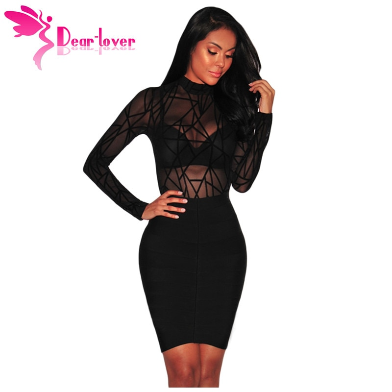 Dear Lover Bodysuit Long Sleeve Women Winter Black Sheer Mesh Geometric Velvet Body Suit Combinaison Femme Jumpsuit Romper 32166