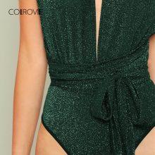 COLROVIE Green Deep V Neck Criss Cross Waist Belted Skinny Bodysuit Autumn Night Out Sexy Bodysuit Sleeveless Women Bodysuits