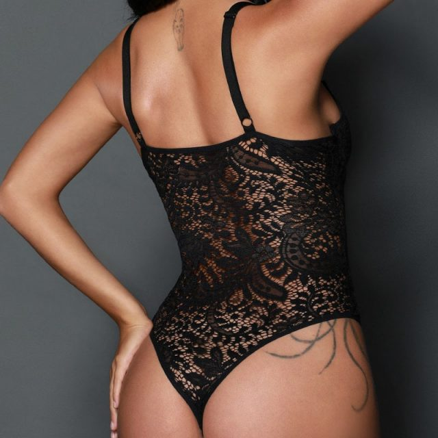 SEBOWEL Sexy Female Lace Black Padded Bodysuit with Cups Woman Spaghetti Straps Hollow Out Floral Body Top Clothes Ladies Bodice