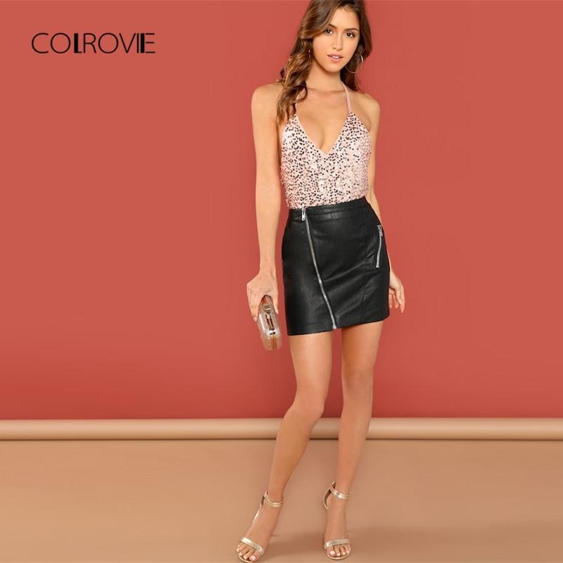COLROVIE Open Back Halter Sequin Bodysuit 2018 Summer Pink Low Waist Skinny Women Clothing Black Spaghetti Strap Sexy Bodysuit
