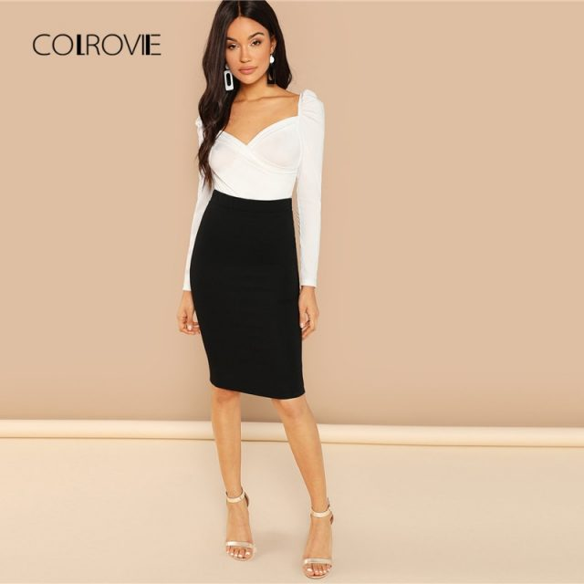 COLROVIE Solid Ruched Puff Sleeve Skinny White Bodysuit Women Autumn Long Sleeve Sexy Body Office Female Basic Bodysuits