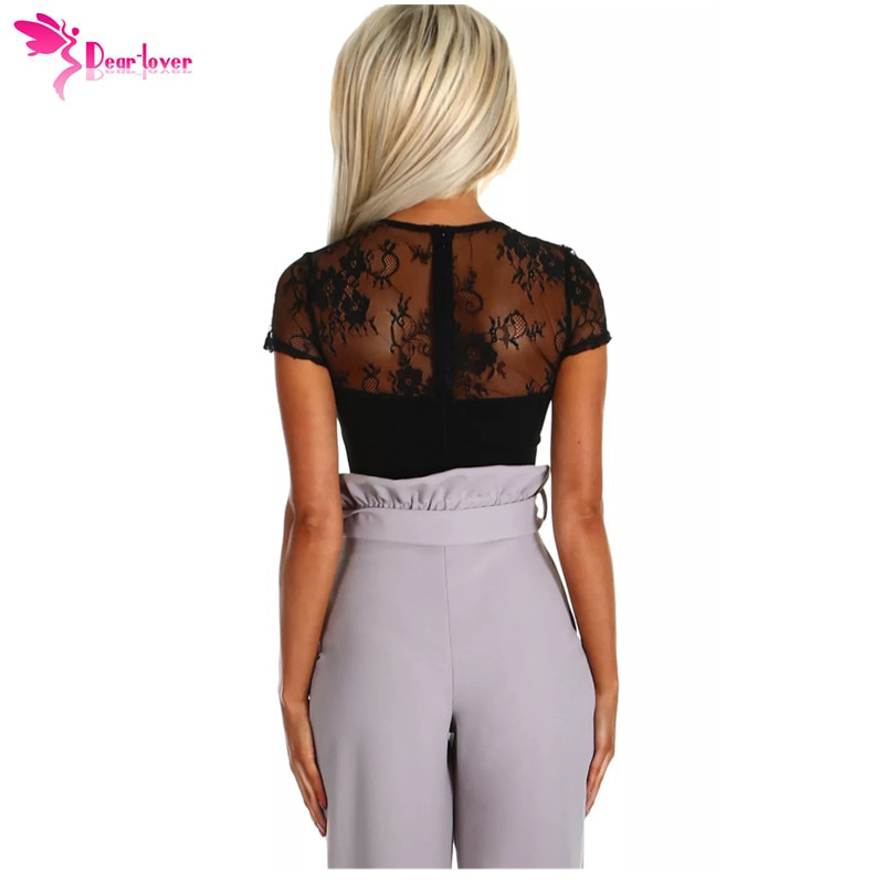 Dear Lover Summer Sexy Bodysuits Ladies Black Lace Short Sleeve Women Romper Bodycon Playsuit Transparent Tops Jumpsuit  LC32241