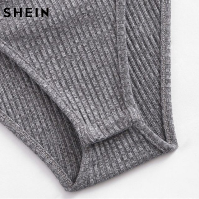 SHEIN O-Ring Zipper Front Ribbed Cami Bodysuit Ladies Spaghetti Strap Sexy Bodysuit Grey Sleeveless Scoop Neck Casual Bodysuit