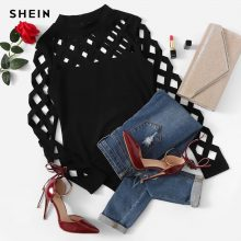 SHEIN Black Going Out Skinny Knot Mid Waist Mock Neck Stand Collar Geo Cut Out Bodysuit 2018 Summer Fashion Women Bodysuits