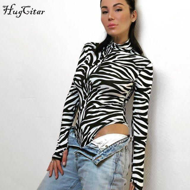 Hugcitar high neck long sleeve Zebra pattern Sexy bodysuit 2018 autumn winter women fashion bodycon elastic christmas party body