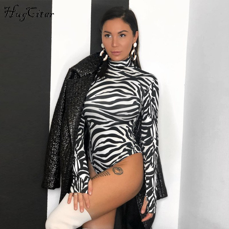 Hugcitar high neck long sleeve Zebra pattern Sexy bodysuit 2018 autumn winter women fashion bodycon elastic christmas party body