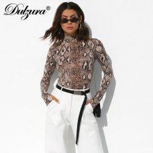 Dulzura snake print long sleeve sexy women bodysuit 2018 autumn winter colthes Mock turtleneck Thumbholes snakeskin body suit