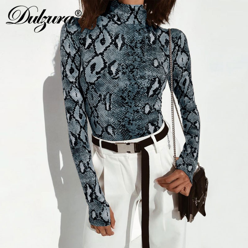Dulzura snake print long sleeve sexy women bodysuit 2018 autumn winter colthes Mock turtleneck Thumbholes snakeskin body suit