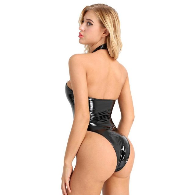 Women Wetlook Sexy Club Catsuit Swimsuit Patent Leather Halter Backless Leotard Bodysuit for Evening Party Costumes Clubwear