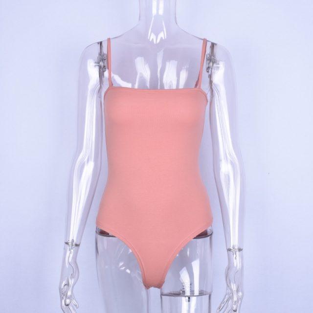 Hugcitar cotton spaghetti straps slash neck backless sexy bodycon bodysuit 2018 women black red white solid fashion body