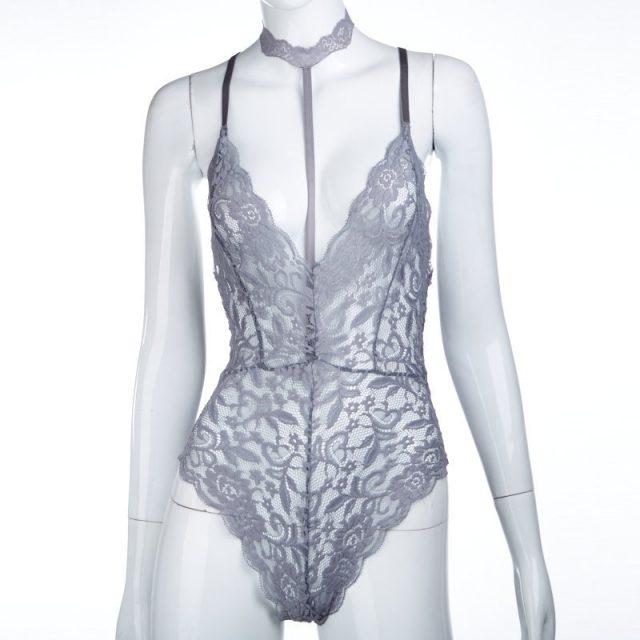 Ruoru Deep V Neck Sexy Bodysuit Solid Choker Mesh Lace Bodysuit Women Bodycon Catsuit Body Femme Leotard Summer Playsuit Female