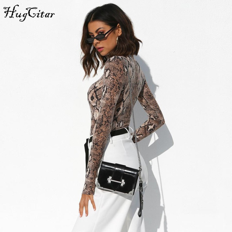 Hugcitar high neck long sleeve sexy bodycon snakeskin bodysuit 2018 autumn winter women fashion body