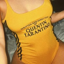 InstaHot Fashion QUENTIN TARANTINO Printed Side Stripe Strap Yellow Bodysuits Women Sexy Cotton Knitted Brand Bodysuits Females