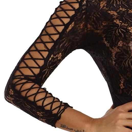 Dear Lover Bodysuit Women Elegant Romper Autumn Black Lace Lattice Long Sleeve Bodycon Playsuit Body Femme Club Jumpsuit LC32092