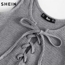 SHEIN Lace Up Front Rib Knit Heathered Bodysuit Grey Scoop Neck Sleeveless Summer Sexy Skinny Body Suits for Women