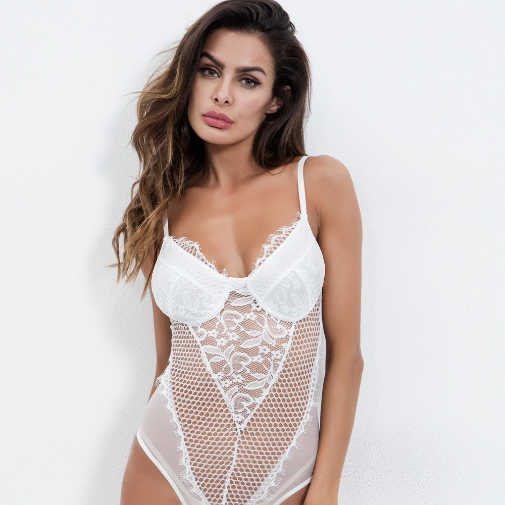 Cryptographic transparent lace bodysuit sexy hollow out rompers womens jumpsuit 2018 mesh teddies female catsuit body mujer new