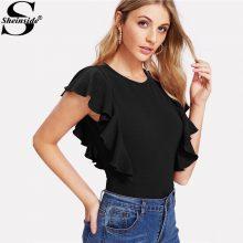 Sheinside Elegant Black Ruffle Cap Sleeve Bodysuit Women Plain Round Neck Butterfly Sleeve Sexy Rompers 2018 Skinny Bodysuit