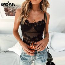 Aproms Sexy V Neck Lace Mesh Bodysuits Women Skinny Fit White Romper Jumpsuit Sleeveless Bodycon Bodysuit Top for Women Clothing