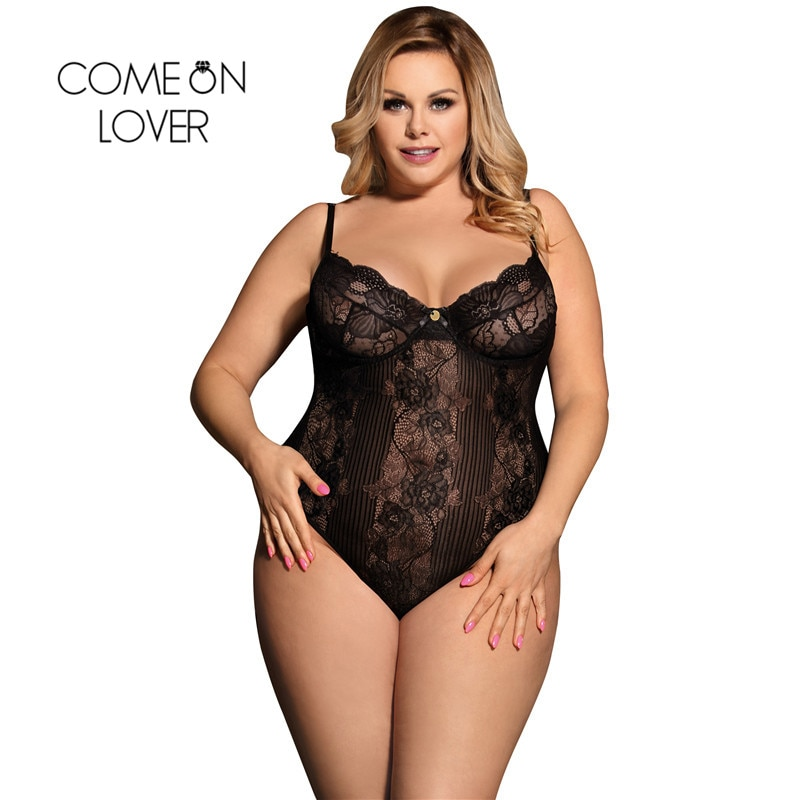 Comeonlover Glamour Underwire Hollywood Sheer Lace White Black Sexy Plus Size Rompers Bodysuite Sexy Women Bodysuit RI80536