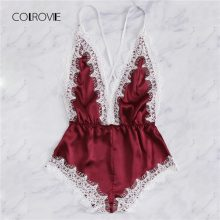 COLROVIE Burgundy Criss Cross Lace Trim Romper Bodysuit Women Teddy Strap Playsuit Womens Clothing Backless Sexy Bodysuit