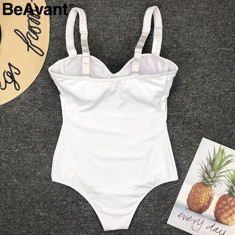 BeAvant V neck sexy bodycon white bodysuits women One-piece summer beach wear playsuit Swimwear casual short jumpsuit body femme