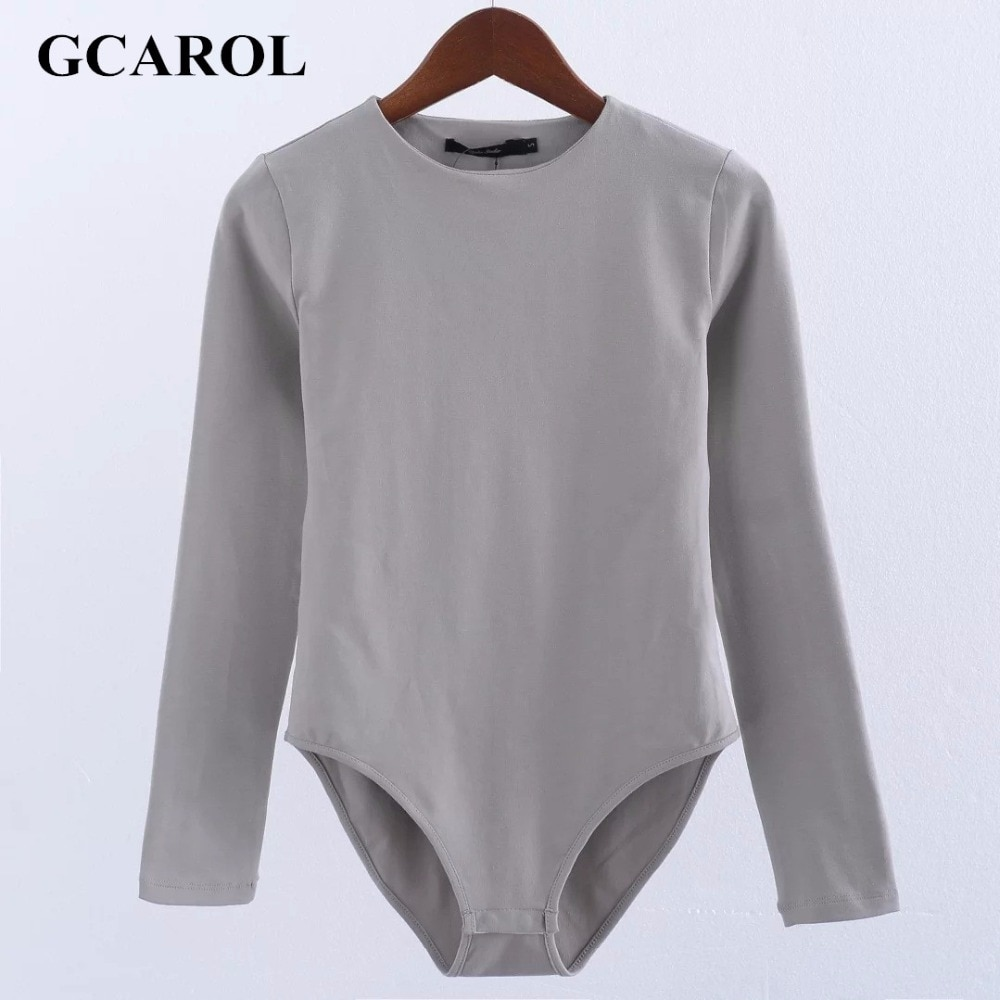 GCAROL Women Bodysuits Bikini Bottom With Snap Closures Stretch Slim Euro Style Full Sleeve O-Neck Basic Bodysuits