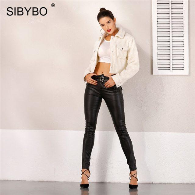 Sibybo Autumn Winter Buttons Sexy Women Coats and Jackets Fashion Long Sleeve Slim Crop Top Women Pockets Casual Jacket Women