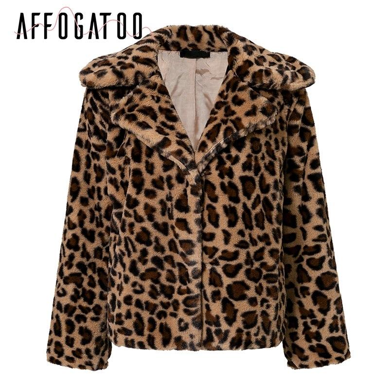 Affogatoo Sexy loose leopard parka overcoat women Fashion 2018 autumn soft faux fur coat Warm plush casual outwear female